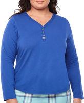 Liz Claiborne Long Sleeve Henley Pajama Top-Plus