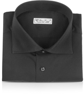 Forzieri Blue Roses - Solid Black Wide Spread Collar Cotton Slim Dress Shirt