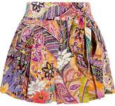 Etro Printed Silk Crepe De Chine Shorts - Bright pink