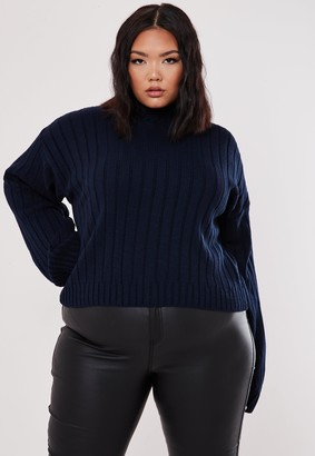 Missguided Plus Size Navy Wide Sleeve Ribbed Crop Jumper