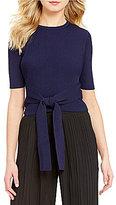 Lucy Paris Regan Tie-Front Elbow-Sleeve Crop Top