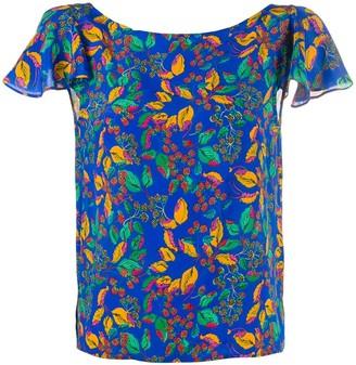 Saloni Berry Leaf-print silk blouse