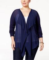 MICHAEL Michael Kors Size Sheer Open-Front Cardigan