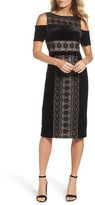 Maggy London Women's Velvet & Lace Cold Shoulder Sheath Dress