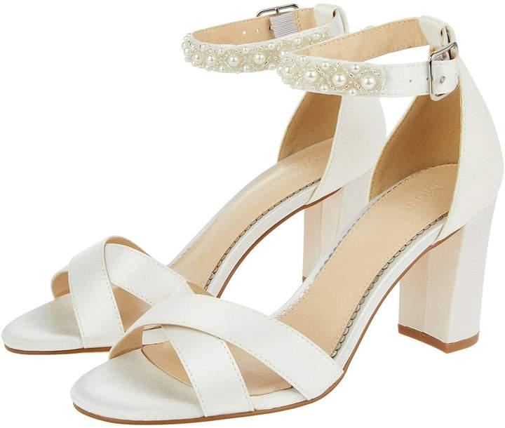Monsoon Farah Embellished Ankle Strap Bridal Shoes - Ivory