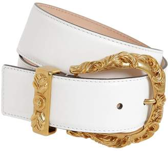 Versace 40mm Leather Belt W/ Gold Buckle