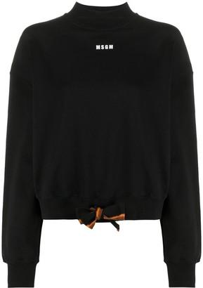 MSGM Logo Print Tie Waist Sweatshirt
