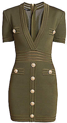 Balmain Women's Short-Sleeve Plunge Bodycon Dress