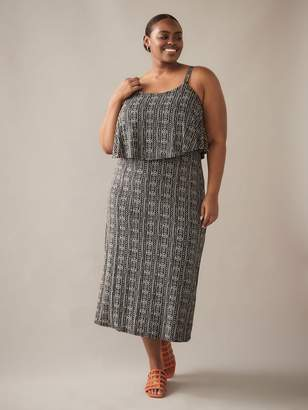 story. Printed Maxi Dress with Overlay Top - In Every