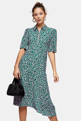 Topshop Green Floral Ditsy Print Zip Front Midi Dress