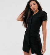 Asos Tall DESIGN Tall denim pocket detail mini shirt dress