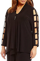 IC Collection Plus One-Button Front Cut-Out Sleeve Asymmetrical Jacket
