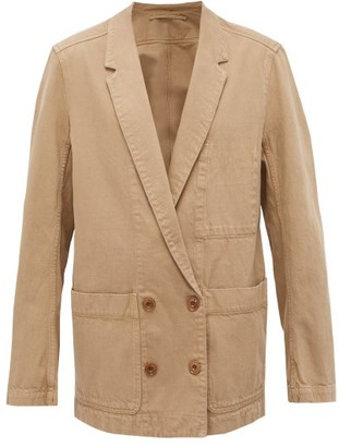 Lemaire Longline Double-breasted Denim Jacket - Womens - Camel