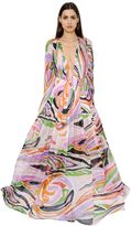 Emilio Pucci Printed Butterfly Silk Chiffon Dress