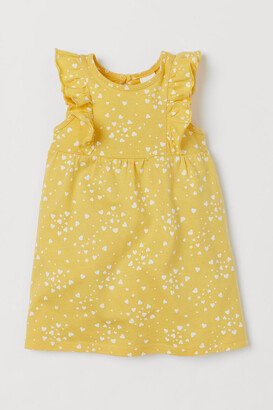 H&M Ruffle-trimmed Jersey Dress - Yellow