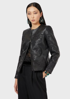 Emporio Armani Lambskin Nappa Leather Jacket With All-Over Embroidery