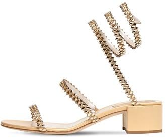 Rene Caovilla 40mm Metallic Leather & Satin Sandal