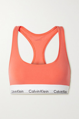 Calvin Klein Underwear Modern Cotton Stretch Cotton And Modal-blend Soft-cup Bra - Bright orange