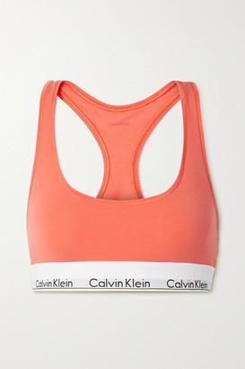 Calvin Klein Underwear Modern Cotton Stretch Cotton And Modal-blend Soft-cup Bra - Bright orange