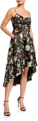 Aidan Mattox Floral Jacquard Sleeveless High-Low Dress
