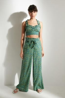 Out From Under Rita Floral Frill Trousers - green XS at Urban Outfitters