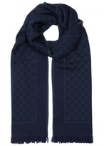Gucci Gg Navy And Green Wool Scarf