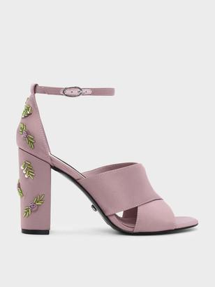 Charles & Keith Embellished Block Heel Satin Sandals