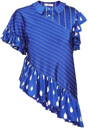 Jiri Kalfar Navy Blue & White Stripe Blouse
