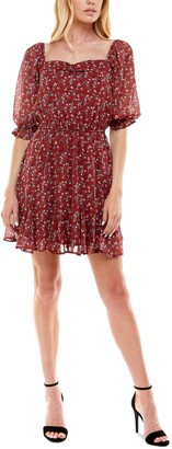 Trixxi Juniors' Cinched Floral-Print Godet-Hem Fit & Flare Dress