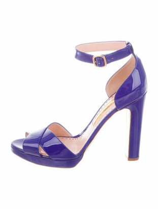 Rupert Sanderson Meadow Patent Leather Sandals w/ Tags blue