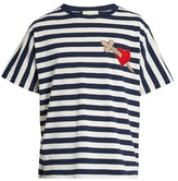 Gucci Heart And Dagger-appliqué Striped Cotton T-shirt