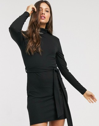 Brave Soul mariana roll neck belted midi dress in rib