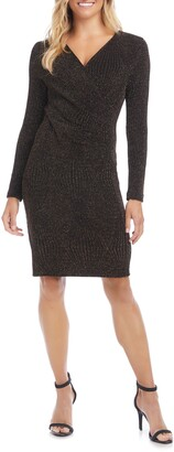 Karen Kane Long Sleeve Faux Wrap Dress