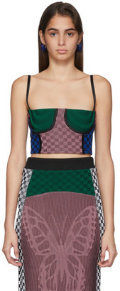 Paolina Russo SSENSE Exclusive Pink and Green Illusion Knit Cropped Bustier Tank Top