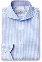 Canali Blue Cutaway-Collar Gingham Cotton-Poplin Shirt