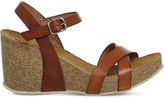 Office Mystery leather cork-look wedges