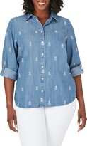 Foxcroft Carmen Embroidered Pineapple Chambray Shirt