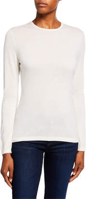 Neiman Marcus Crewneck Long-Sleeve Superfine Cashmere Sweater