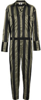 Topshop Duvall Striped Satin Jumpsuit - Army green