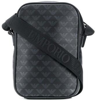 Emporio Armani Monogram Print Leather Messenger Bag