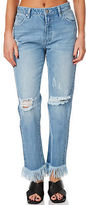 MinkPink New Women's Dark Days Womens Jean Cotton Fitted Blue