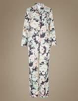 Marks and Spencer Floral Print Satin Long Sleeve Pyjama Set