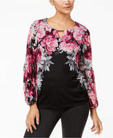 JM Collection Petite Embellished Keyhole Top, Created for Macy's