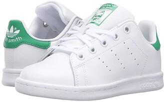 adidas Kids Stan Smith (Little Kid) (Footwear White/Footwear White/Green) Kids Shoes
