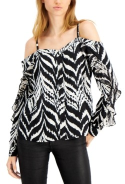 Bar III Ikat-Print Cold-Shoulder Blouse, Created for Macy's