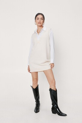 Nasty Gal Womens V Back Soon Knitted Mini Dress - Cream