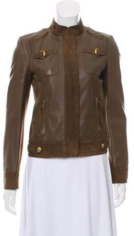 Gucci Suede-Accented Leather Jacket