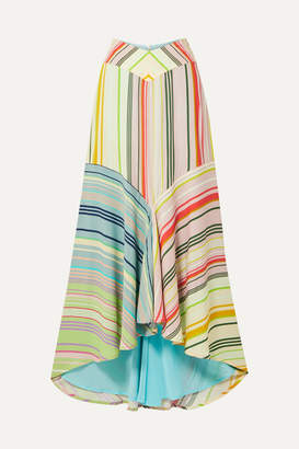Silvia Tcherassi Beverly Striped Crepe De Chine Maxi Skirt - Green
