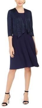 Jessica Howard Petite Dress & Glitter Printed Jacket