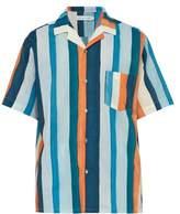 Desmond & Dempsey - Stripe Print Cotton Poplin Pyjama Shirt - Mens - Multi